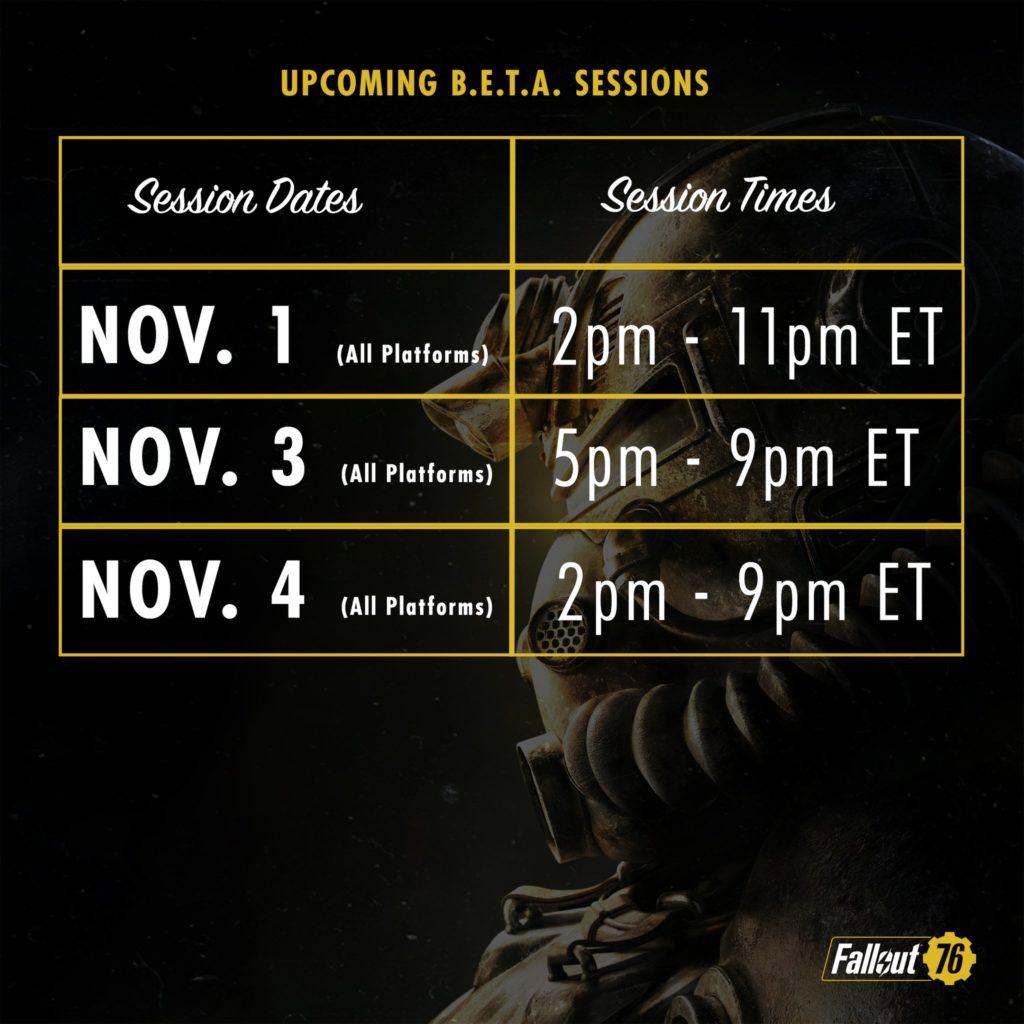 Fallout 76 B.E.T.A Sessions Update