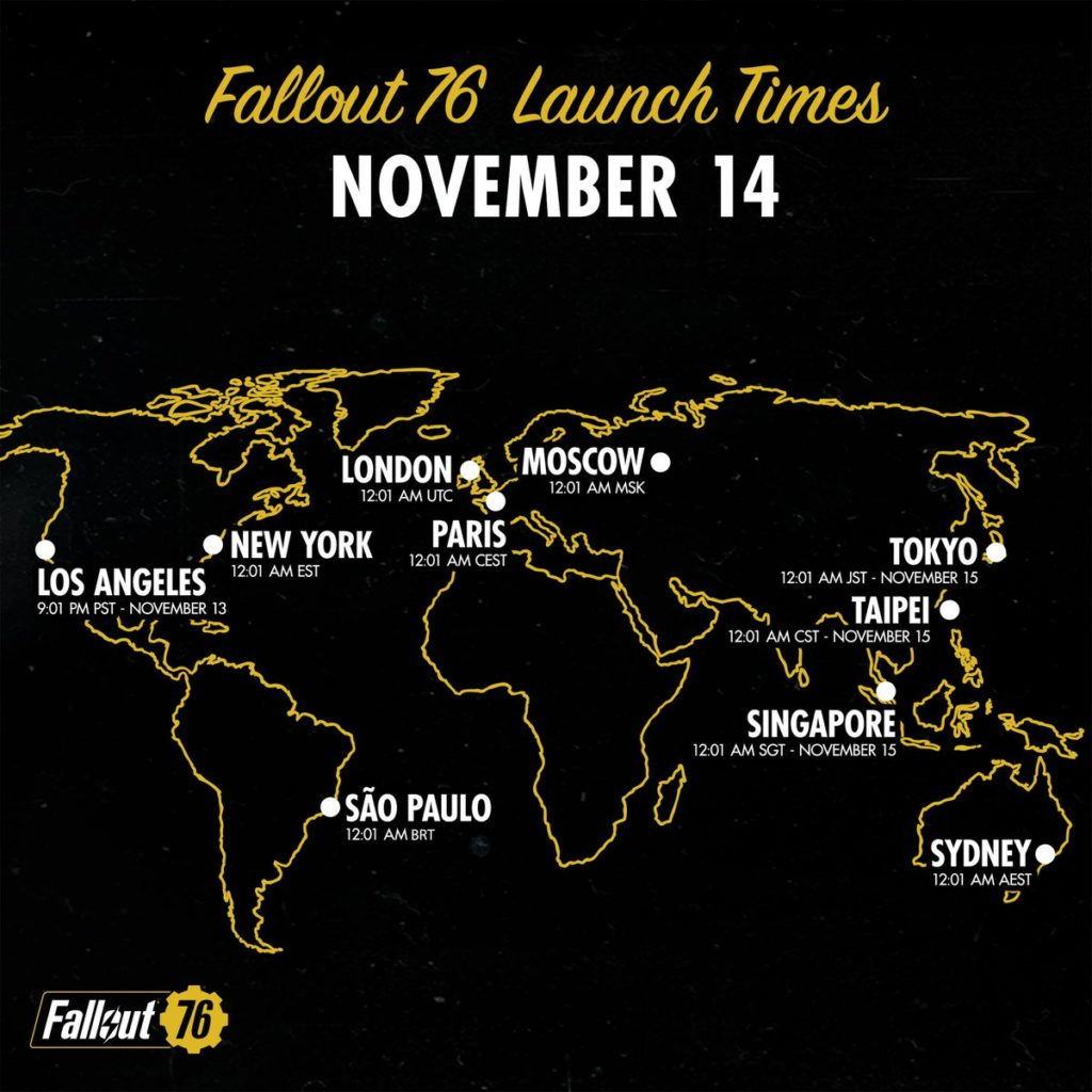 Fallout 76 Launch Dates